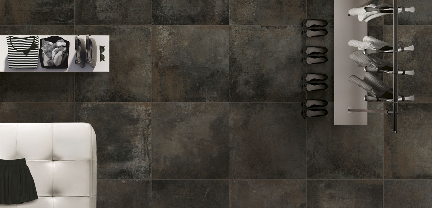Oxidised Sheet Effect Porcelain Stoneware Tiles Rust