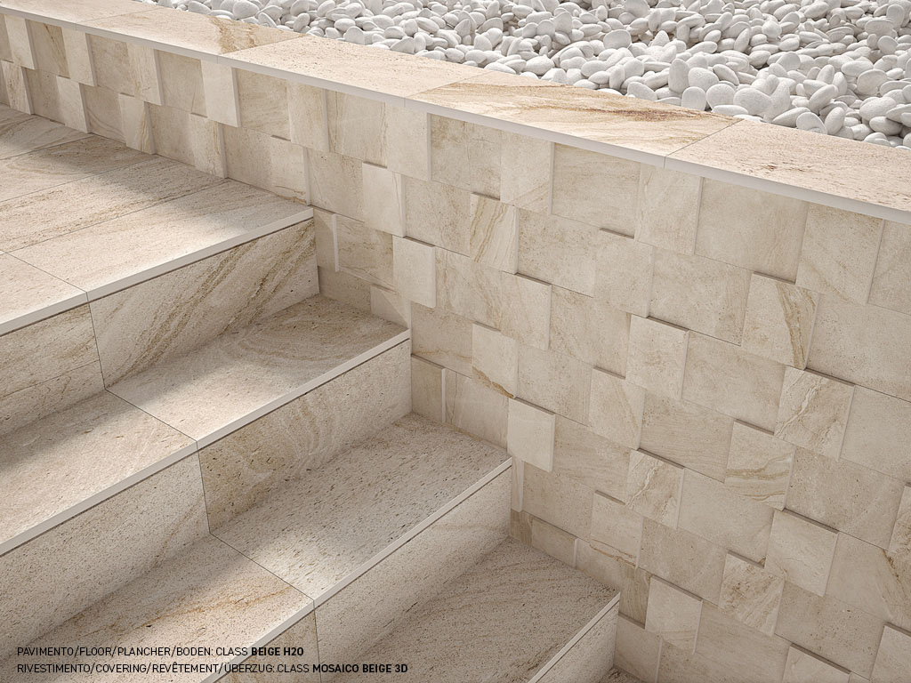 Piastrelle effetto pietra e marmo in gres class ceramica for Pavimenti a mosaico per interni