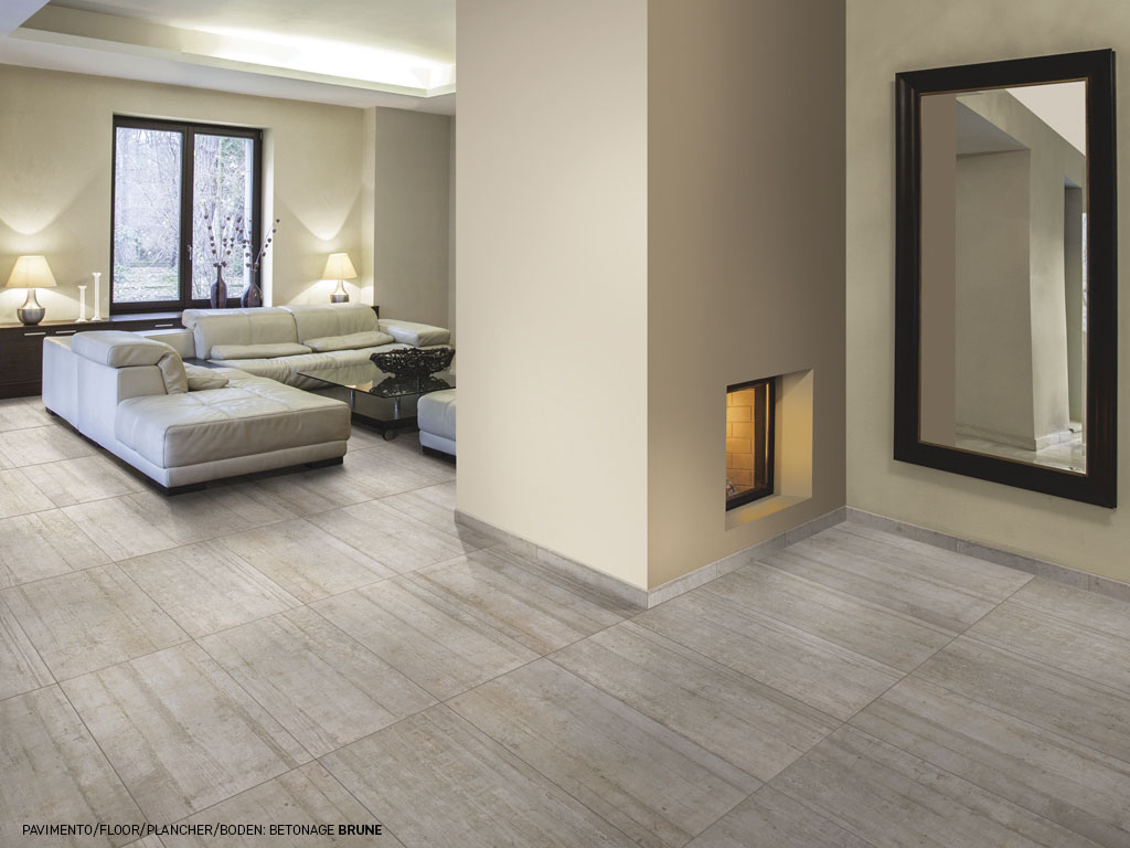 Cement effect porcelain stoneware tiles betonage for Carrelage faux parquet