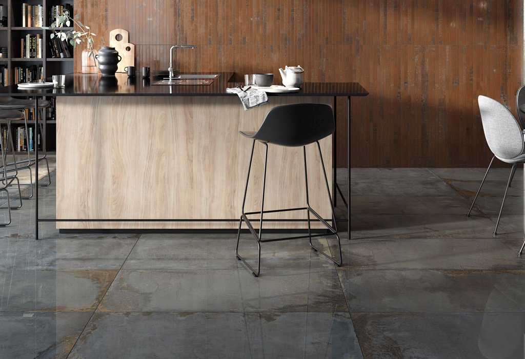 Metal effect floor tiles Oxyd by Ceramica Rondine
