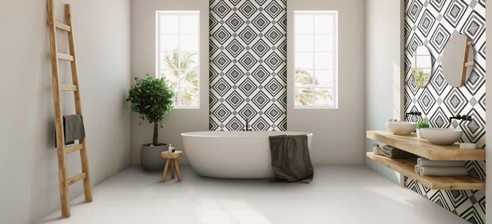 Il bagno effetto cemento ceramica rondine for Ceramiche da bagno